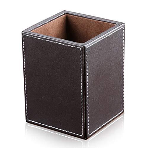 Lagand Stiftehalter aus Leder, quadratisch, für Schreibwaren, Aufbewahrungsbox für Büro und Schule app.11.5x8.5x8.5cm/4.53x3.35x3.35in (LxWxH) braun