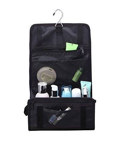 FEDER Kulturbeutel Premium l Große Reise-Kulturtasche zum Aufhängen l Kosmetik-Tasche zum Hängen l Waschtasche Waschbeutel Toilettentasche für Frauen + Männer (Schwarz)