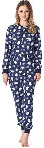 Merry Style Damen Schlafanzug Strampelanzug Schlafoverall MS10-175 (Navy/Bär, M)