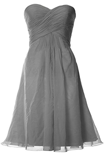 MACloth Women Strapless Short Bridemaid Dress Wedding Cocktail Party Gown Grau