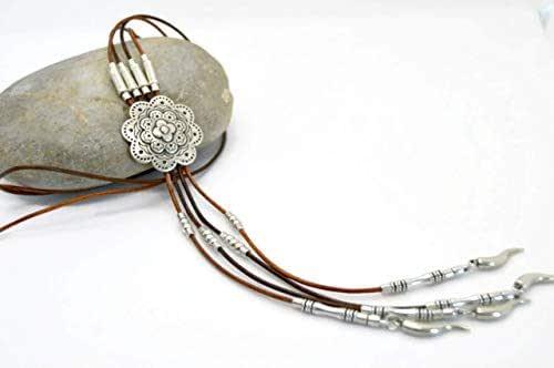 Collana lunga in cuoio e zama argento in stile boho per le donne, collana di mandala
