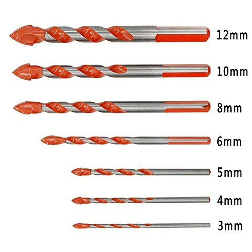 Bohrer Set Multifunktionale Mehrzweck Dreieck Legierung Spiralbohrer Lochsäge Für Holz Kunststoff Und Aluminium Kupfer Stahl Keramik Fliesen Wand (C 7Pcs/Set)