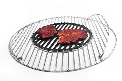 Edelstahl Grillrost 54,5 cm alles in 5 mm Inklusive Guss Einsatz ca.30 cm ! TOP für Steaks