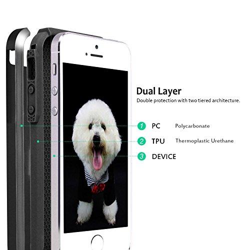 Custodia iPhone 5S, Custodia iPhone 5, Custodia iPhone SE, Hinpia Elegante Antiurto Ibrida Duro Morbido TPU Bumper Custodia Case Cover Protezione per Apple iPhone SE, iPhone 5s/5 (Dorato/Dorato) Nero/Nero