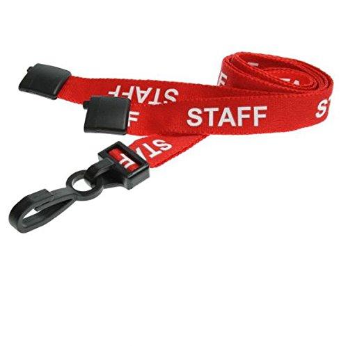 100x rote Lanyards für Staff (Mitarbeiter) mit J-Haken aus Kunststoff, für ID-Karten/Badges
