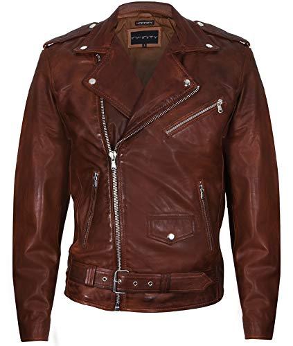 Infinity Leather Chaqueta Motera de Cuero Retro de Brando para Hombre Moho XL