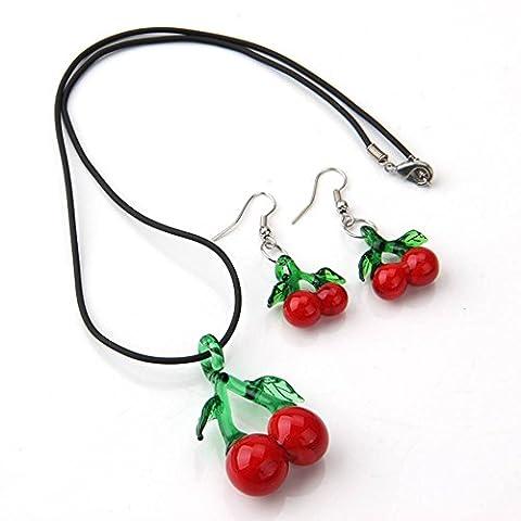 Skyllc® Set Collier Boucle d'oreille Verre Pendentif Cerise Rouge+Vert