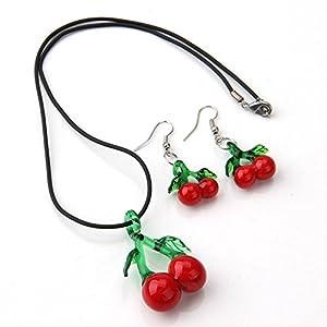 Skyllc Schmucksache Gesetzte Halsketten Ohrringe mit Rotem und Grünem Fruchtkirsche Geformter Azurblauer Steinglas Glasur Anhänger