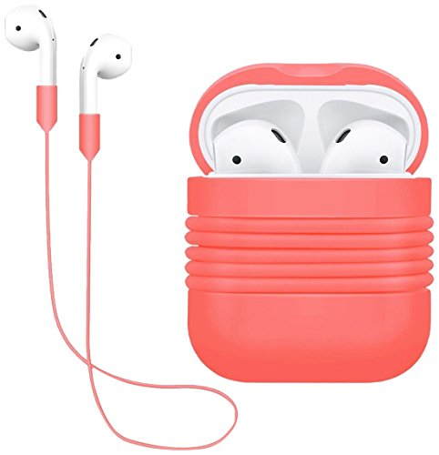 AirPods Case Protective, Yometome AirPods Apple Cover Silicone Antiurto AirPods Protective Custodia Accessori skin-soft Silicone Cinghia dell anti-perso per Apple Airpods (AirPods Case + Cinghia dell anti-perso)