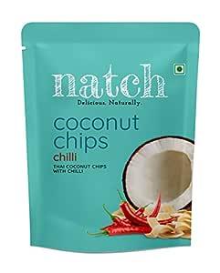 Natch Coconut Chips, Delicious Crunchy Bites Rich in Fibre - (Chilli), 5 x 40 g