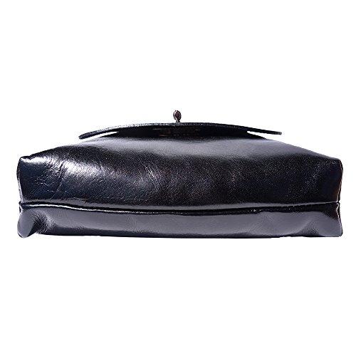 Sac plat moyen en cuir 6546 Noir