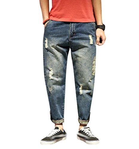 Yiiquan Herren Jeans Denim Taper Hose Slim Fit Lose Destroyed Zerrissen Stretch Stil 5 30 (Loose Taper)