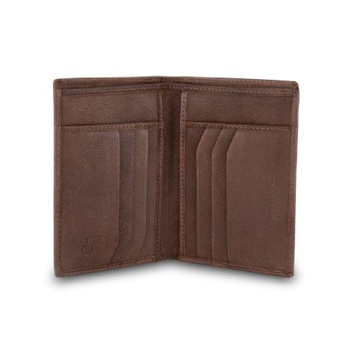 DV Portafoglio a libro da uomo di pelle porta carte di credito Marrone