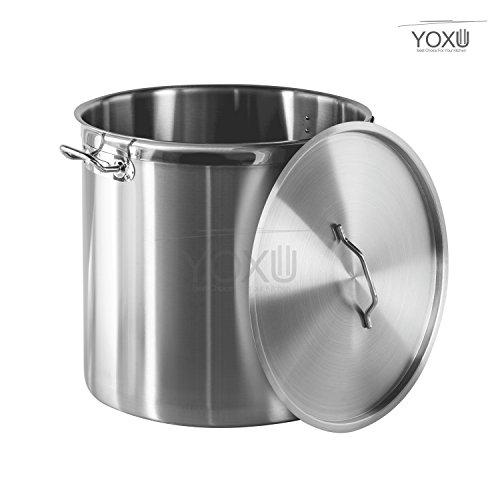 Yoxu pentola con coperchio acciaio inox 18/10 cucina catering ristorante aisi 304 (diametro 30 cm altezza 30 cm volume 21 litri)