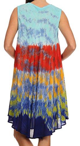 Sakkas caftan court/robe de plage Nora brodée tie-dye sans manches Bleu clair