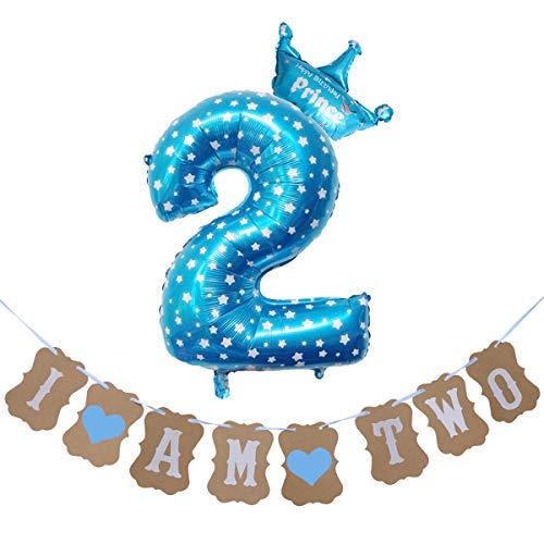 Fenical 81,3cm Digital Krone Kinder Aluminium Folie Ballon Pull Flower Anzug Baby Tag Banquet Luftballons für Geburtstag Party Decor (blau, für 2Jahre)