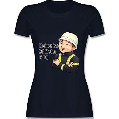 Feuerwehr - Feuerwehrmann - Meiner ist 20 Meter lang. - tailliertes Premium T-Shirt mit Rundhalsausschnitt für Damen Navy Blau