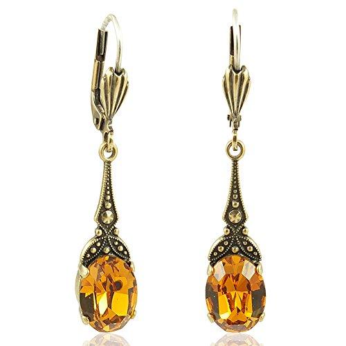 Jugendstil Ohrringe mit Kristallen von Swarovski Gold Gelb Braun NOBEL SCHMUCK