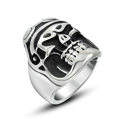 Amody Schmuck Herren Cool Edelstahl Biker Ring Bands 26MM Schutzbrillen Schädel gekreuzte Knochen Retro Schwarz Silber Ringe größe 62 (19.7) (Gekreuzte Kostüm Knochen)