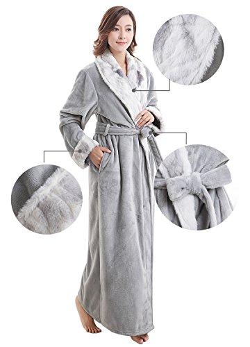 Accappatoi in spugna per Donna, Morbida Vestaglia da Donna con Colletto Cintura e Tasche, lungo, bene assorbenza Light Gray