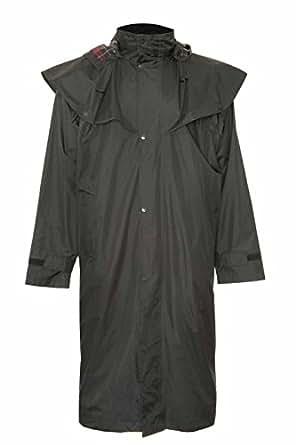 Mens Long Full Length Waterproof Riding Rain Coat BLACK SIZE S