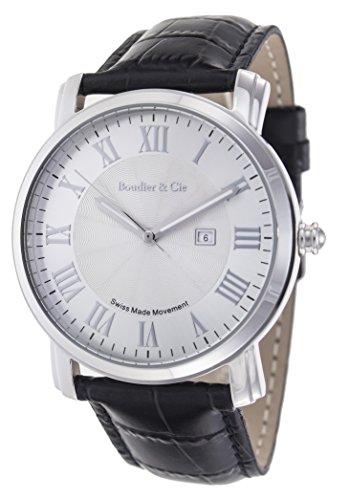 Boudier & Cie – BC15SA1 – Orologio al quarzo Analogico con movimento Svizzero da uomo, Quadrante bianco, Cinturino in Pelle nera