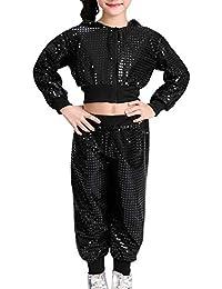 5bf009609eabb Huatime Danza Ropa Disfraces Vestidos - Disfraz de Danza con Lentejuelas  para Niñas Niños Diseño Moderno de Jazz Hip…