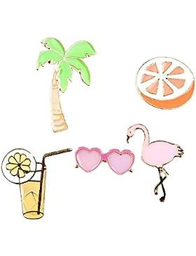 Brosche Anstecknadel Anstecker Pins Metall Brosche 5 Stück Set Palme Cocktail Sonnenbrille Flamingo