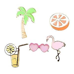 Beyond Brosche/Anstecknadel/Pins aus Metall – 5 Stück Set – Palme, Cocktail, Sonnenbrille, Flamingo