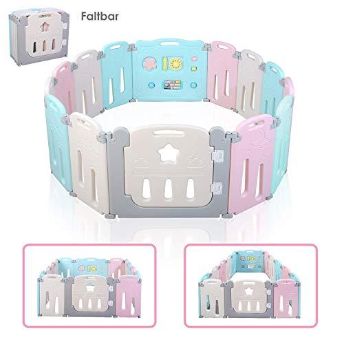 Bamny Laufgitter Laufstall Baby Absperrgitter Krabbelgitter Schutzgitter für Kinder aus Kunststoff mit Tür - für Kinder von 10 Monaten bis 6 Jahren (12 Paneele + 2 Tür,Mond-Stil)