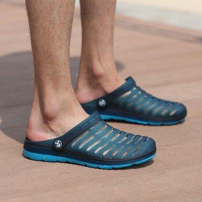 Blu Pistoni Sandali Respirabile Scarpe Grandi Delle Degli Uomini Coppie Foro Metà Di Lin Xing Estate Pantofole Ustione Scuro Dei Donne Raffreddare Dimensioni PEqB8Hnw
