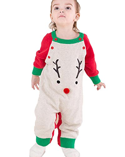Kidsform Baby Weinachten Christmas Outfits Spielzug Weihnachtsoutfit Set Strampler Rot ()
