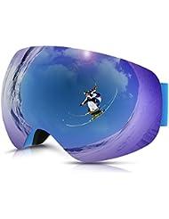 Philonext Snow Goggle, Snowboard Skate Gafas de esquí Snowmobile Ski Gafas con Anti-Fog Big Esférico Doble Lente, 100% UV400 Protección, Gran Angular para la nieve Deportes Esquí Snowboard Ski Snowmobile Skate Goggle (Blue)