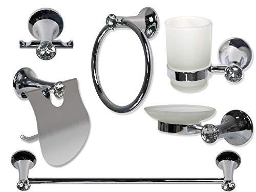 vetrineinrete® set da bagno moderno acciaio lucido con punti luce di cristalli acrilici 6 pezzi accessori arredo bagno porta saponetta portarotolo spazzolini asciugamano a39