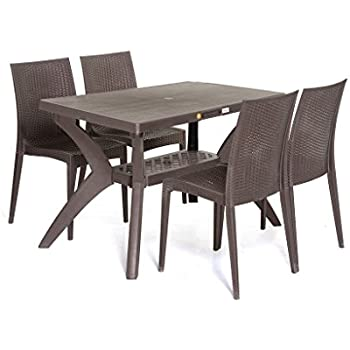 Nilkamal Texas Four Seater Dining Table Set (Walnut Finish, Brown): Amazon.in: Home & Kitchen