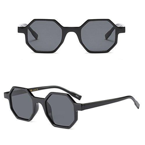 CUIGU Hexagonal Sunglasses Vintage Small Glasses Geometric Resin Frame Clear Lenses
