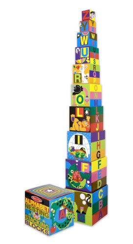 Melissa & Doug 12782 Deluxe Alphabet Nesting and Stacking Blocks, Multicolour, 10 Pieces