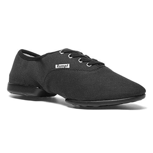 Rumpf Bee 1515 Dance Tanz Sport Sneaker Hip Lindy Hop Trainings Schuhe Leinen, 39 EU, Schwarz