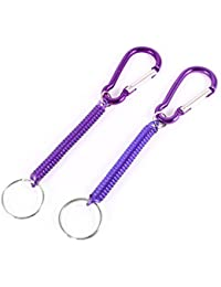sourcingmap® Bag Ornament Spiral Stretch Cord Coil Keyring String Lanyard Key Chain Strap 2 Pcs