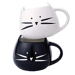 Idea Regalo - Tougo 2 Pz Tazza da caffè di Ceramica, caffè e Latte Tazza Regalo Perfetta per Natale e Compleanno, Bianchi e Neri, 350ml