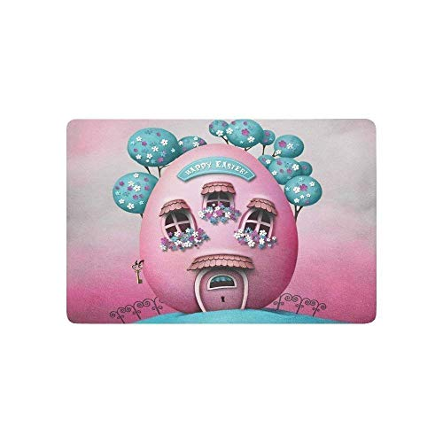rwwrewre Cushion Imagination Unique Pink House Easter Egg Shap House Home Decorations Rug Rectangle Size 23.6x15.7,Multi-Function Indoor Outdoor Beautiful Doormat