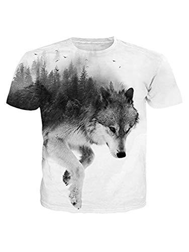 Funnycokid Unisex T-Shirts 3D Drucken Lustig Cool Wolf Sport Täglich Herren T-Stücke