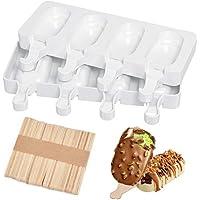 Moldes de helado JUMKEET, moldes de silicona para helado de helado de 2 unidades, con 50 varillas, de grado alimenticio, sin BPA, para niños, adultos, postre, chocolate, bricolaje
