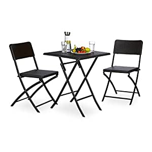 relaxdays gartenm bel set bastian 3 teilig sitzgruppe klappbar quadratischer. Black Bedroom Furniture Sets. Home Design Ideas