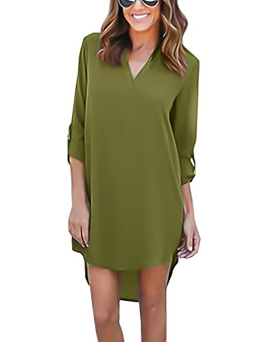 ISASSY Damen Relaxed Bluse Grn