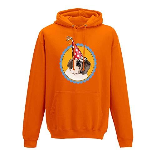 Mops Kostüm Herr - Jimmys Textilfactory Hoodie Mops Hund Pug Dog Karneval Party JGA Geschenk 10 Farben Herren XS - 5XL kleine Dogge Kostüm Feier JGA, Größe:S, Farbe:orange
