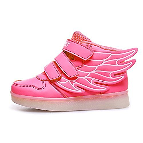 COOLER®Baskets Lumineuses Chaussures de Sport Clignotantes avec 7 Couleurs LED Colorés Style d'ailes d'ange pour Fille Garçon Rose