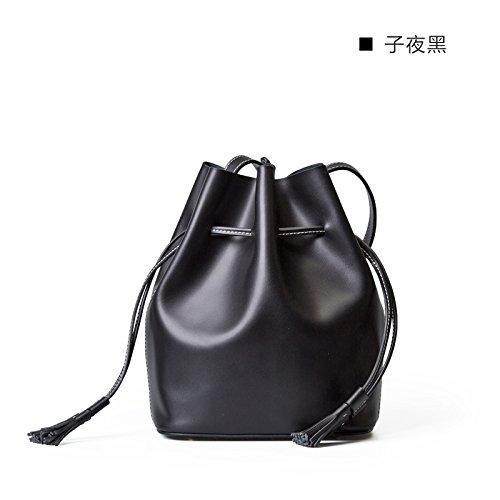Nouveau Sac en cuir vintage petit sac de messager d'épaule de mode simple Midnight black