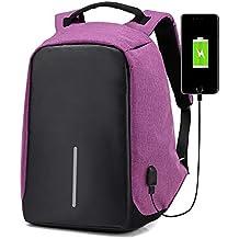 Mochila multifuncional para computadora, mochila de viaje de poliéster impermeable de gran capacidad con interfaz