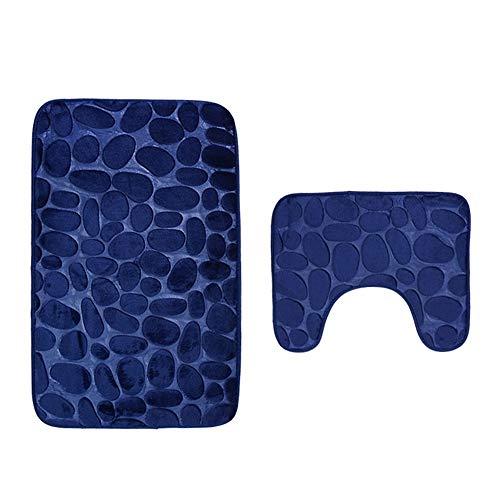 ematten Set Badezimmer Non-Slip,Toiletten-Abdeckung 2 Stück Rutschfeste Sauggriff Badematte Badezimmer Küche Teppich Fußmatten Dekor Für Halloween (Blau) ()